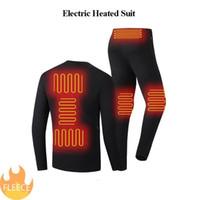 Hombres Invierno Calentado Ropa interior Conjunto Termal Heat Fleece Pantalones de senderismo USB Al aire libre Impermeable Motocicleta Traje eléctrico