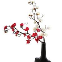Flores Decorativas Grinaldas Artificial Plum Cherry Blossoms Silk Flores Sakura Árvore Ramos de Árvore de Casa Decoração Diy Decoração Do Casamento Diy