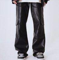 남자 바지 2021 의류 헤어 스타일리스트 Catwalk 나이트 클럽 힙합 호른 멀티 포켓 가죽 플러스 크기 의상 27-46