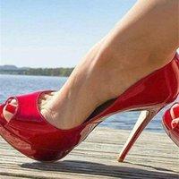 Sapatos Salto de Couro Patenteado Vermelho, Calado Feminino Stiletto Com Bico Alto Plataforma 14cm Para Casamento Bombas, Bombas