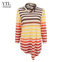 di Yitonglian Donne 2020 Collo a righe Casual Fashion tunica 6XL 7XL formato più lungo cime delle donne maglietta H385 femminile