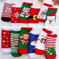 0-10 anos Bebês Crianças Natal Meias Rapazes Meninas mediana meias longas Xmas Tree Papai Noel do floco de neve da rena dos desenhos animados Meias LY111703