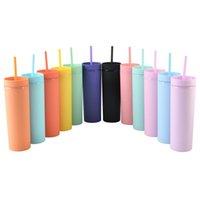 En stock 16oz acrylique skinny tumblers mattes couleurs doubles murs eau bouteille de café boire de la gobelet en plastique sippy tassieux avec des pailles libres