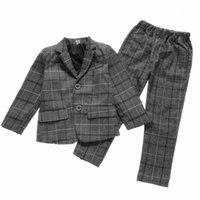 Jungen Gentleman Formale Anzüge Kinder Plaid Fashion Blazer Hosen 2 stücke Party Hochzeitsanzüge Herbst Kinder Kleidung Sets Teenager Kostüm1
