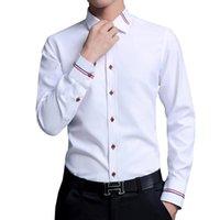 Мужские платья рубашки разборчивые повседневные социальные формальные рубашки мужчины с длинным рукавом бизнес тонкий офис мужской хлопок мужской белый 4XL 5XL