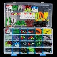 146pcs pesca esche kit esca morbida gancio con piombo esche da piombo con scatola da pesca da pesca