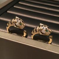 Belles bagues de léopard d'animaux mignons Mode mousseux de luxe de luxe Diamond Zirconia Bague de cuivre pour femmes filles ouvertes réglable