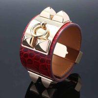 Hochwertig 3,8 cm breite echtes leder mit edelstahl metall armband in vielen farben in 22 cm länge für frauen hochzeit schmuck geschenk fre