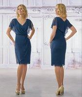 V-Neck Blue Chiffon Dress Donne Estate Donne Nuova Slim Lotus Leaus Leaf Slitte Vita Gonna lunga Plus Size Mother of the Bride Abiti DH6288