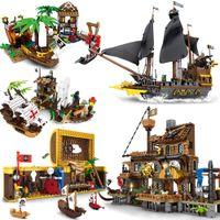 Militaire Pirate Ship Soldiers Bay Island Bâtiment Blocs Caraïbes Black Pearl Bateau Créateur Modèle Moc Toys pour enfants Cadeaux X0102