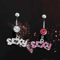 Silver / Rose Sexy Crystal Crystal Corps Navel Piercing Bouton chirurgical Lettre Ventre Bague Barre de bijoux Barre de bijoux 4 Styles