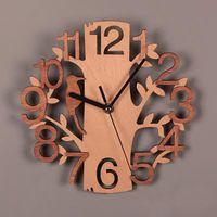 خشبي الطيور ساعة الحائط مزدوجة ستيريو الأزياء الدائرية الخشب الحبوب ساعة الحائط غرفة المعيشة غرفة نوم بلا حدود تزيين المنزل HH9-3698