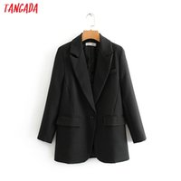 Tangada Moda Mujeres Black Traje Blazer Manga Larga Pocket Office Lady Business Coat Femenino Retro Tops DA45 x1214