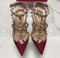 2020 нет коробки роскошь бренд v логотип женский заостренный носок сандалии с заклепками 6 см 8 см 10см тонкий высокий каблук натуральная кожа свадебные туфли 34-43