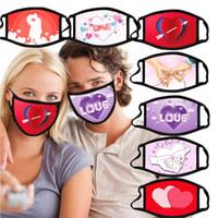 발렌타인 데이 마스크 면화 방진 커플 마스크 3D 인쇄 호흡기 빨 수있는 재사용 가능한 삽입 PM2.5 필터 파티 디자이너 마스크 ZYY121