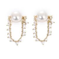 Frauen lange Ohrhörer Schmuck Dame Überzogene Goldkette Zirkon Pearl Mode Ohrstecker 2020 Neues Muster 4 25AJ J2