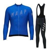 Yeni Maap Pro Takım Bisiklet Jersey Önlük Pantolon Seti Erkekler Uzun Kollu Yol Bisiklet Üniforma Nefes Hızlı Kuru MTB Bisiklet Kıyafetleri S21012826
