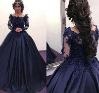 2021 3D Floral Applique Quinceanera Vestidos Marinho Azul com Mangas de Ilusão Longa Frisada Pescoço Nascimento Noite Balanjawn Prom Vestido
