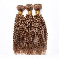 Neu Kommen Brasilianische Honig blonde menschliche Haarbündel 27 # farbige kinky lockige menschliche Haarverlängerung billige brasilianische jungfräuliche Haare webt