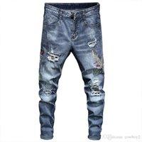 Diesel-Männer Jeans Luxus Designer Jeans Herren Skinny Biker Hohe Taille Slim Fit Rock Revival Mode Sticking Tuch Blau Ripping Jeans