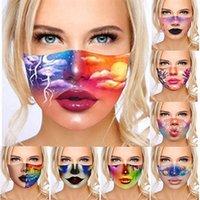 ABD Stok Moda Tasarım Kadın Yüz Maskesi 3D Renkli Baskılar Ile Yıkanabilir Ve Kullanımlık Ağız Maskeleri Anti-Rüzgar Güneş Bloğu Toz Geçirmez Yüz