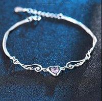 Pulseira de prata pulseira anjo anjo amor coração com cristais austríacos para mulher charme braceletwholesale fino ps1134