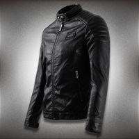 PU искусственные кожаные пальто мужчины мотоцикл новый тонкий подходящий капюшон байкер кожаная куртка топы человека аппликация