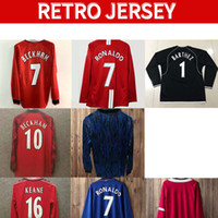 Jerseys de futebol retrô 92 98 manga longa Keane Giggs Cantona Mens 99 Beckham Solskjaer Keane Ronaldo Ferdinand Rooney Scholes Football Shell