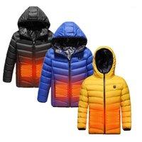 야외 티셔츠 2021 가열 자켓 어린이 USB 충전 겨울 조끼 전기 열의류 아이 빨 수있는 하이킹 재킷 1