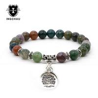 Antico argento placcato buddismo albero di vita braccialetti uomini Aventurina braccialetto amazzonite Buddha gioielli spirituali per le donne BD-9