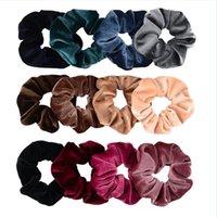 Kadın Kadife Elastik Saç Askısı Kız Çocuk Pleuche Saç Aksesuarları Scrunchy Hairbands At Kuyruğu Tutucu 39 Renkler WQ159
