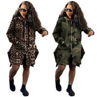 Mäntel Frauen Lose Langarm Kapuze Kordelzug Reißverschluss Mäntel Herbst Saker Bord Frauen Lange Oberbekleidung Camouflage Leopard Graben