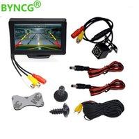 자동차 후면보기 카메라 주차 센서 BYNCG 카메라 4.3 인치 테이블 모니터 비스 백업 시스템에 대 한 TFT 미러 야간 Vision WaterProo