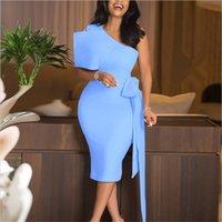 Элегантные офисные леди женщины платья мода одно плечо без рукавов карандаш платье колена длина реальные картинки высокое качество 2021 новейший