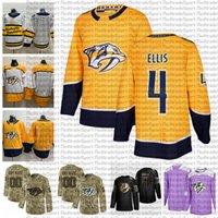 2021 Personnaliser # 4 Ryan Ellis Nashville Predators Predators Jerseys Edition Golden Camo Vétéros Jour Fights Cancer Cancer Custom Cuted Hockey Jerseys