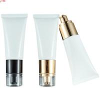 30ml Leeres weißes Kunststoff Squeeze Tube Gold Schwarz Airless Lotion Pumpe Kosmetische Verpackungsbehälter Nachfüllbare Flasche 25piecesgood Produkt
