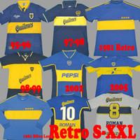97 98 Boca Juniors Retro 1981 Jersey Jersey Maradona Roman Gago 97 99 Camisa de Futebol 2001 2002 2005 Camiseta Futbol Vintage Long 81 Riquelme