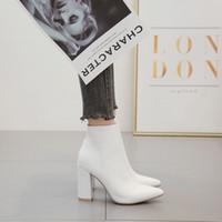 Ltarta Otoño Mujeres Mid Calf Blanco Punto de Toe Botas Tacones altos Botines de moda Botas de mujer Blanco para damas ZL-QS048 201124