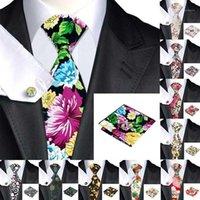 HI-TIE HANDKY Gemelos Set 150 cm Lazo de los hombres grandes Rojo 100% corbatas de seda para hombres Moda floral Necktie1