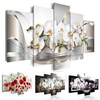 Modern Stampe Orchid Flowers Pittura a olio su tela Art Flowers Immagini murali per soggiorno e camera da letto (senza telaio)