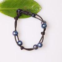 Бисером, пряди синий жемчужный браслет ручной работы с бисером браслеты на кожаном шнуре Браслеты пресноводные черные коричневые браслеты черный