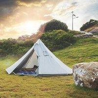 Tende e riparazioni Estate Camping Pyramid Tent Tenda Ultralight Grande parasole Sole Shelter Teepee con fornello Tubi foro per zaino in spalla