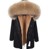 Maomaokong novo verdadeiro guaxinim colarinho casaco mulheres vestuário mulheres longas casaco quente feminino casaco de inverno parkas jaqueta feminina 201211