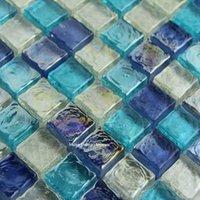 Duvar Kağıtları Parlak Mavi WHTIE Kristal Cam Mozaik Karo Banyo Duvar Sınır Merdiven Porch Mutfak Yüzme Havuzu Kat
