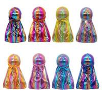تقليد الحرير durag bandanas بلون طويل الذيل جديلة العمامة الملونة الهيب هوب النساء الرجال للجنسين جودة عالية 5 5dc m2