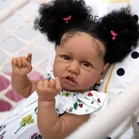 Reborn Handmade Reborn Baby Tolls 57 см Силиконовые полноте тела Черная кожа Мода Волокна Волосы Восстановление Волосы Восстановление Девушка Детская Дня Подарки Живая Y1130