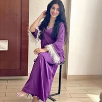 Frauen Dubai Feder Jalabiya Maxi Kleid Lose Satin V-ausschnitt 3/4 Ärmel Muslimische Arabische Abaya Kleid Party Bankett Marokko Jelleba Eid