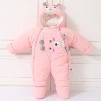 Inverno menina bebê urso macacão desenhos animados menino morno macacão algodão cataxado recém-nascido unisex roupas cute infantil onesie traje 201027