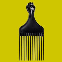 Faust Afro Haar Pick Perücke Kammbürste Großhandel Schwarz Kunststoff Männer Bartpflege Friseursalon Shop Jubiläum Kundenunternehmen Geschenk