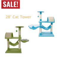 32 дюйма Cat Tree Condo Sisal Transer мебель котенок домашнее животное подъем держатель для кота башня башня баранина альпинизм стенд гамак игрушка подарок